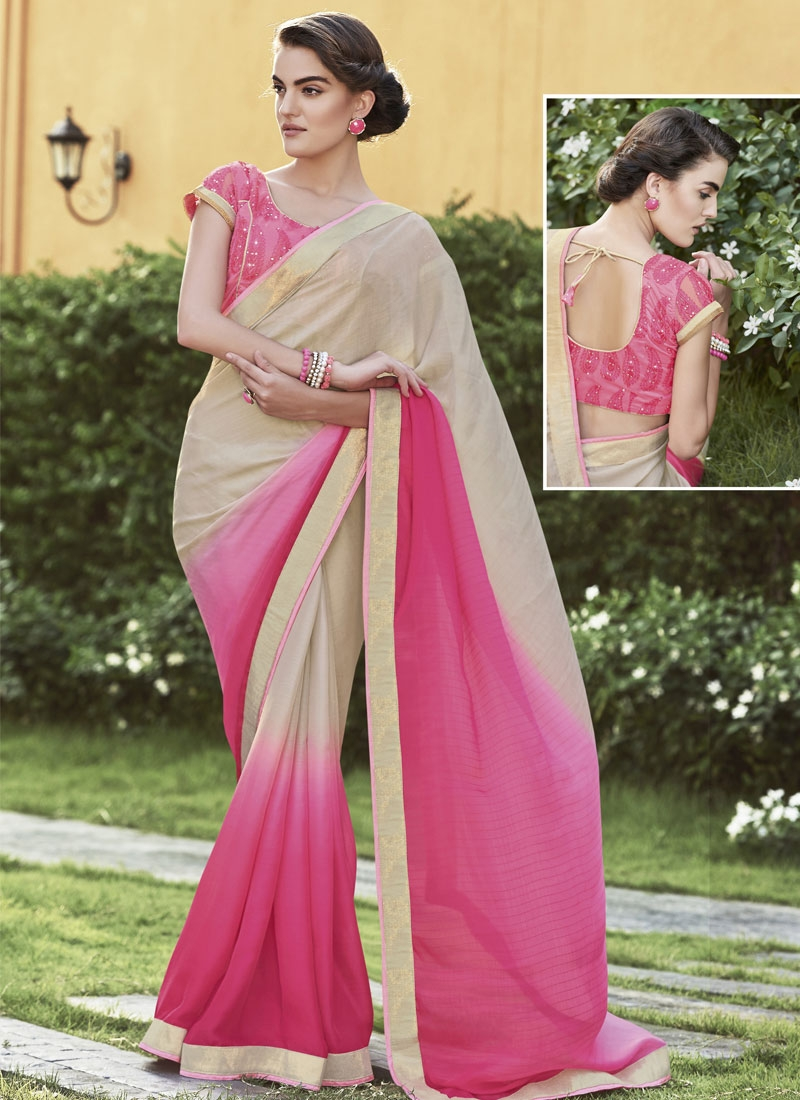 Delightsome Hot Pink And Beige Color Party Wear Saree