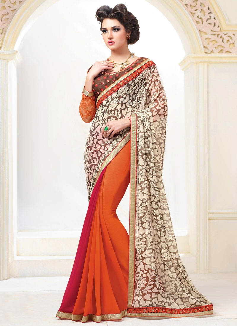 Delightsome  Lace Work Half N Half Party Wear Saree