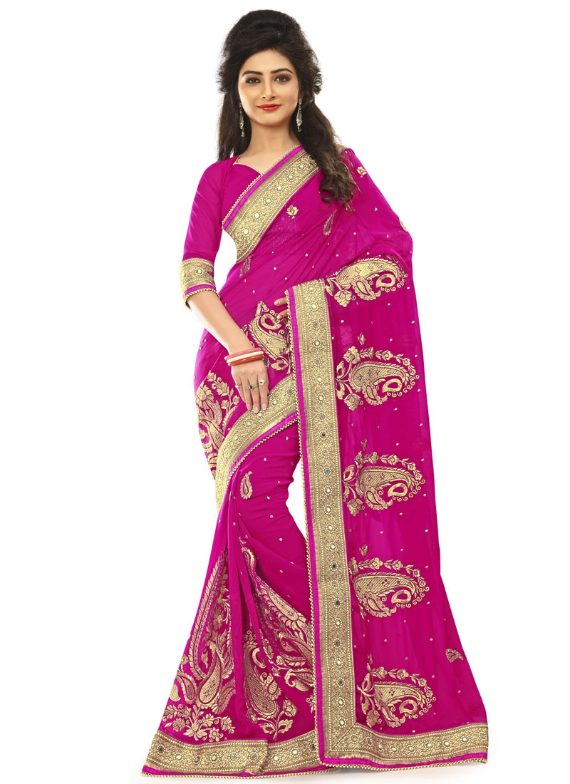 Delightsome Mirror And Lace Work Wedding Saree