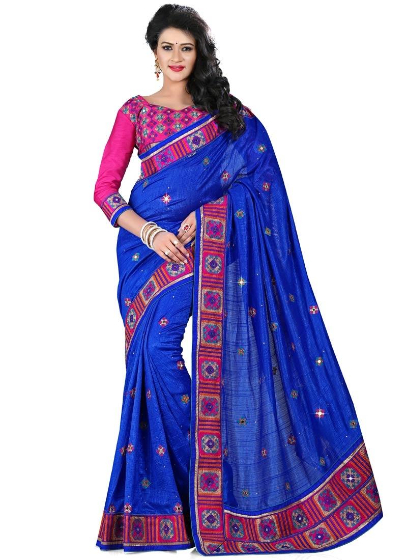 Delightsome Mirror And Resham Work Silk Designer Saree