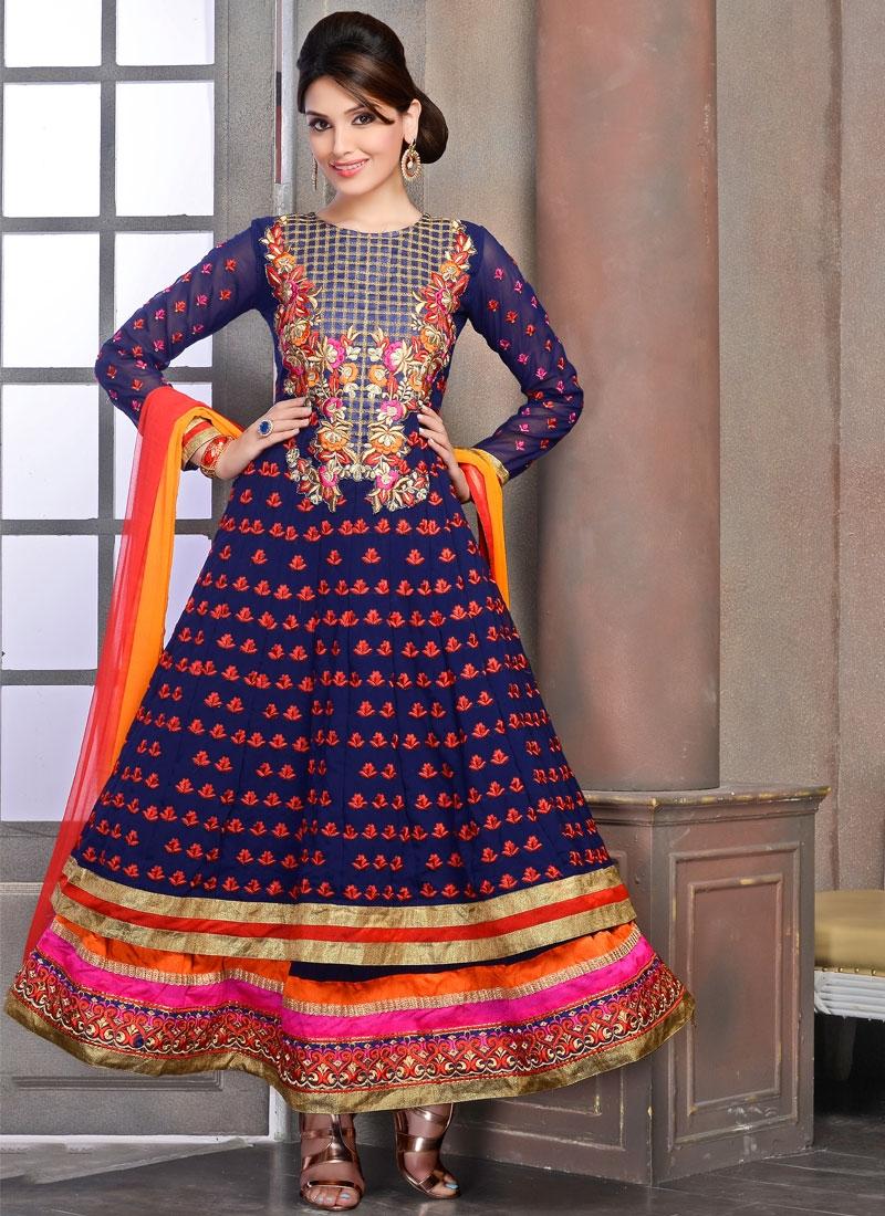 Delightsome Multi And Lace Work Ankle Length Anarkali Salwar Kameez