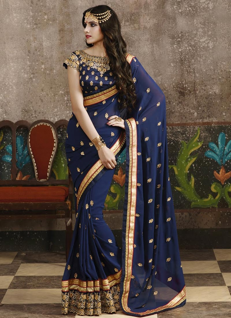 Delightsome Navy Blue Color Lace Work Wedding Saree