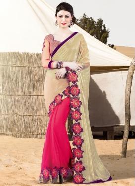 Delightsome Net Lace Work Half N Half Designer Saree