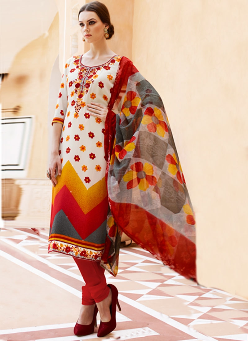 Delightsome Off White Color Stone Work Churidar Salwar Suit
