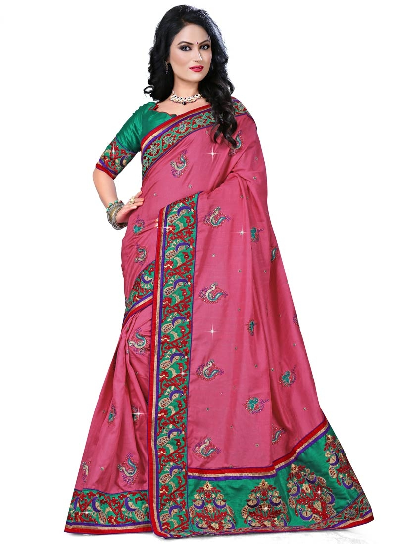 Delightsome Patch Border And Booti Work Party Wear Saree