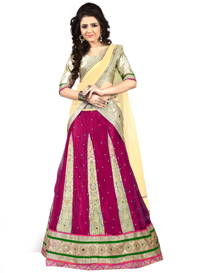 Delightsome Patch Border And Stone Work Designer Lehenga Choli