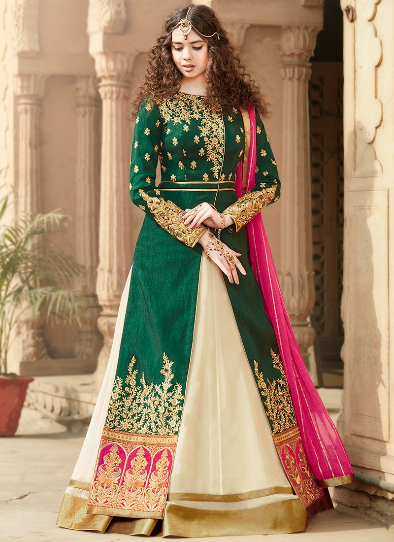 Delightsome Patch Border Work Floor Length Designer Suit