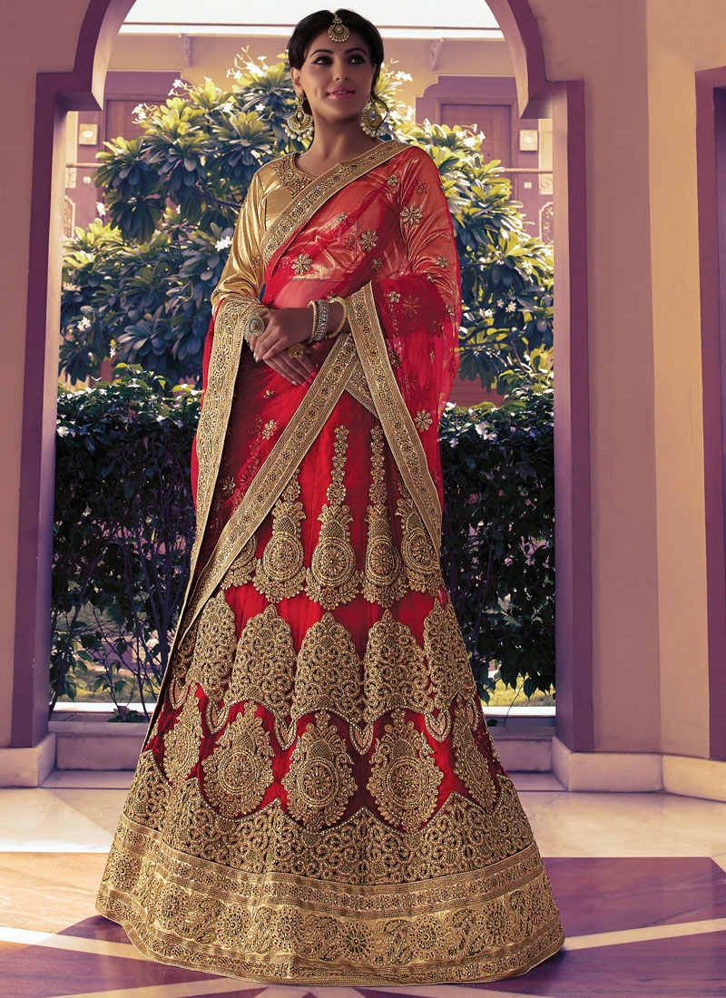 Delightsome Red Color Booti Work Bridal Lehenga Choli