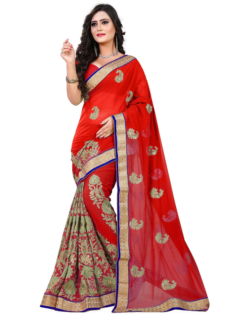 Delightsome Red Color Resham Work Party Wear Saree