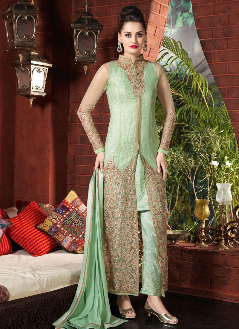 Delightsome Stone And Beads Work Pant Style Designer Salwar Suit