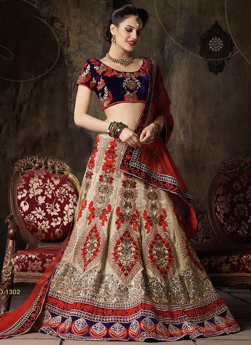 Delightsome Stone And Booti Work Bridal Lehenga Choli