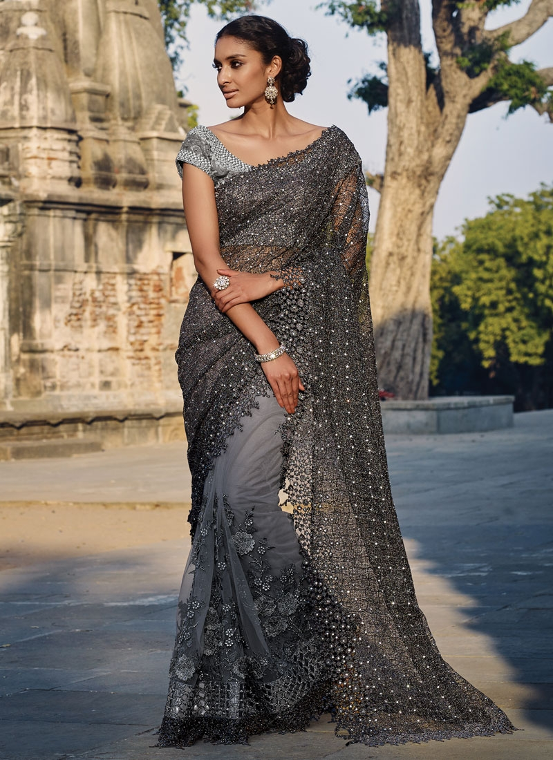 Delightsome Stone Work Net Designer Saree