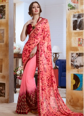 Demure Abstract Print Work Party Wear Saree