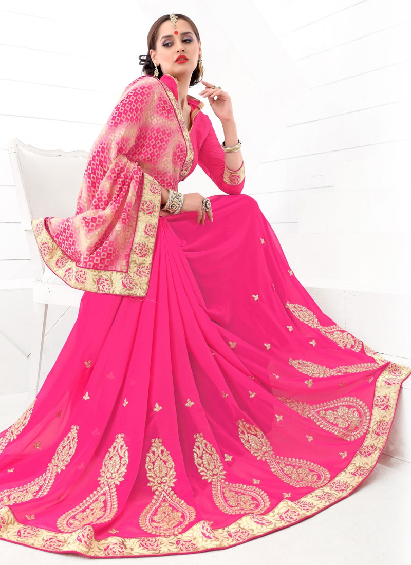 Demure Booti Work Hot Pink Color Party Wear Saree