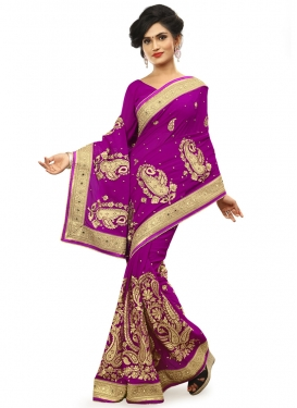 Demure Booti Work Purple Color Wedding Saree