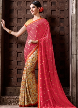 Demure Cream Abstract Print Work Half N Half Trendy Saree