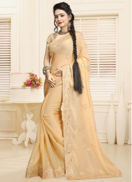 Demure Faux Chiffon Embroidered Work Trendy Classic Saree