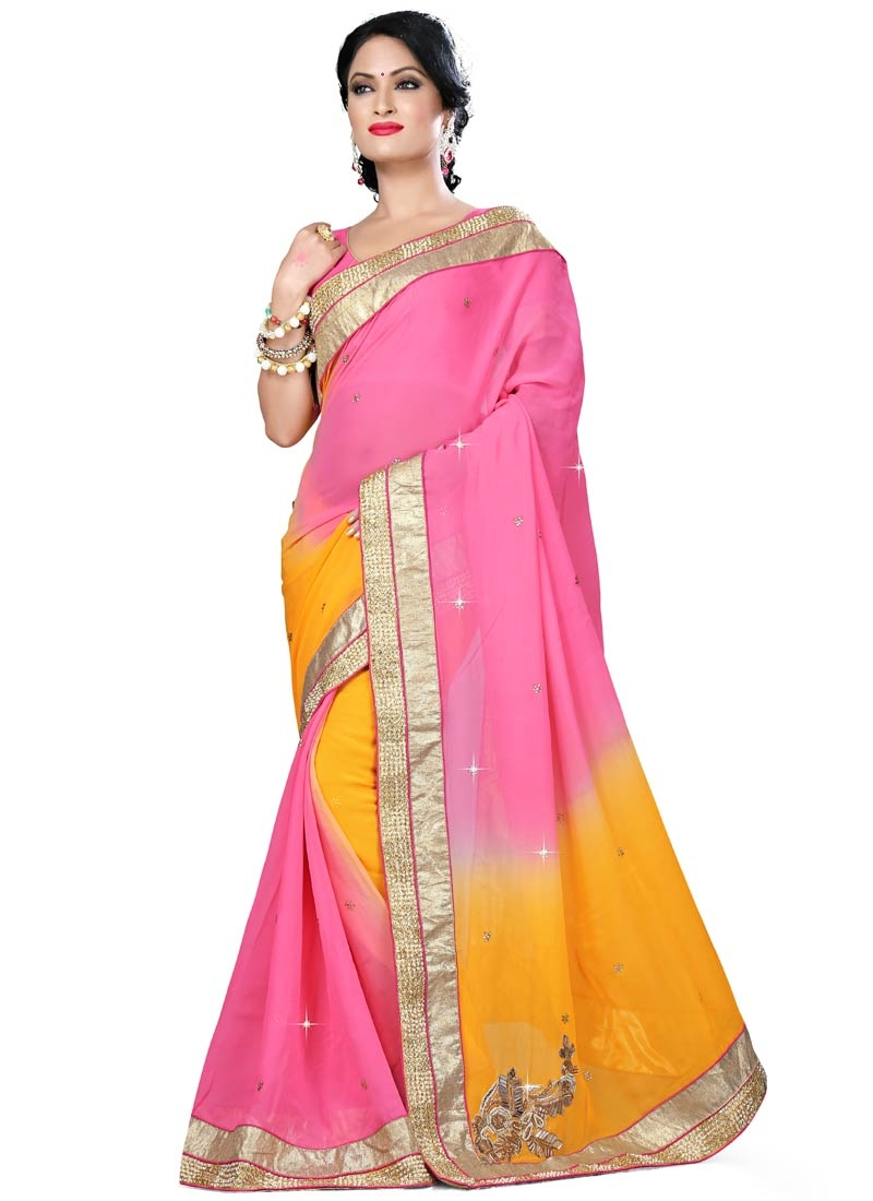 Demure Hot Pink Color Viscose Designer Saree