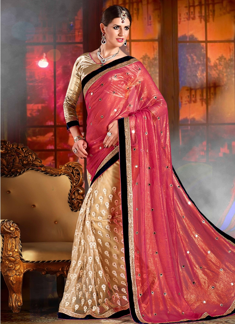 Demure Mirror Work Half N Half Wedding Saree