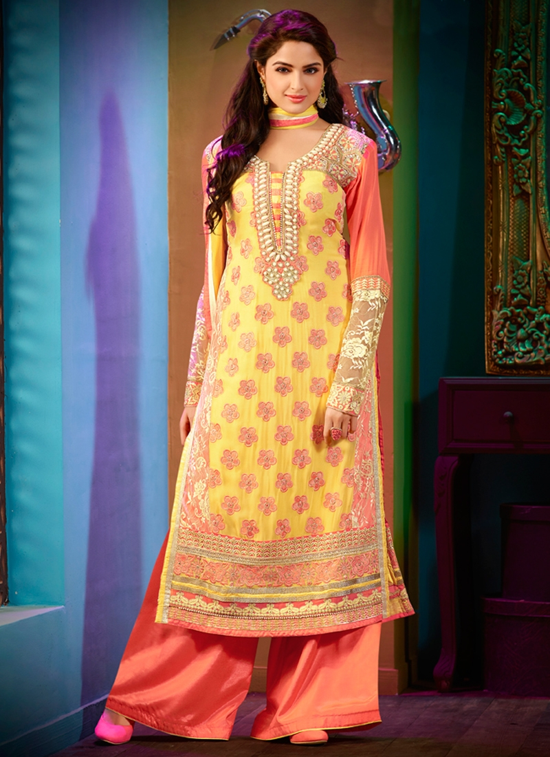 Demure Multi And Beads Work Party Wear Salwar Kameez