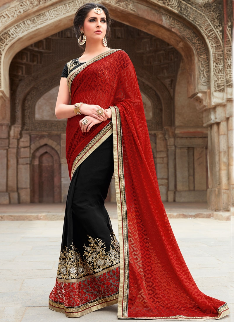 Demure Patch Border Work Half N Half Designer Saree