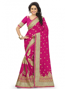 Demure Patch Border Work Rose Pink Color Wedding Saree