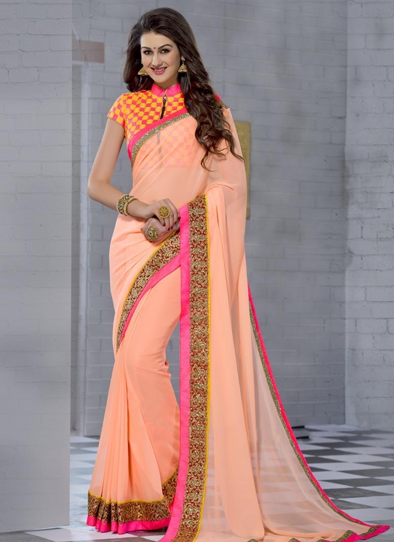 Demure Peach Color Party Wear Saree
