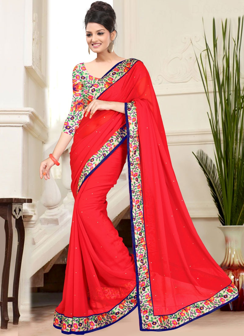 Demure Red Color Faux Chiffon Casual Saree
