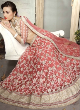 Demure Salmon Color Beads Work Bridal Lehenga Choli