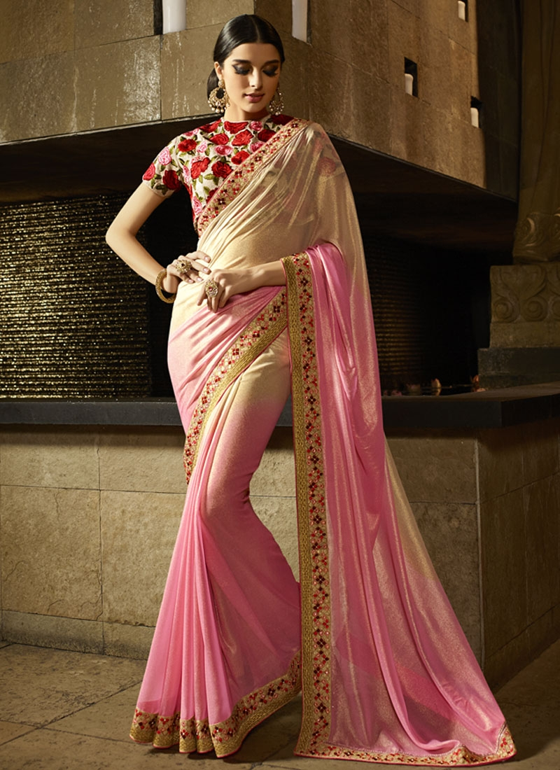 Demure Shimmer Georgette Party Wear Saree