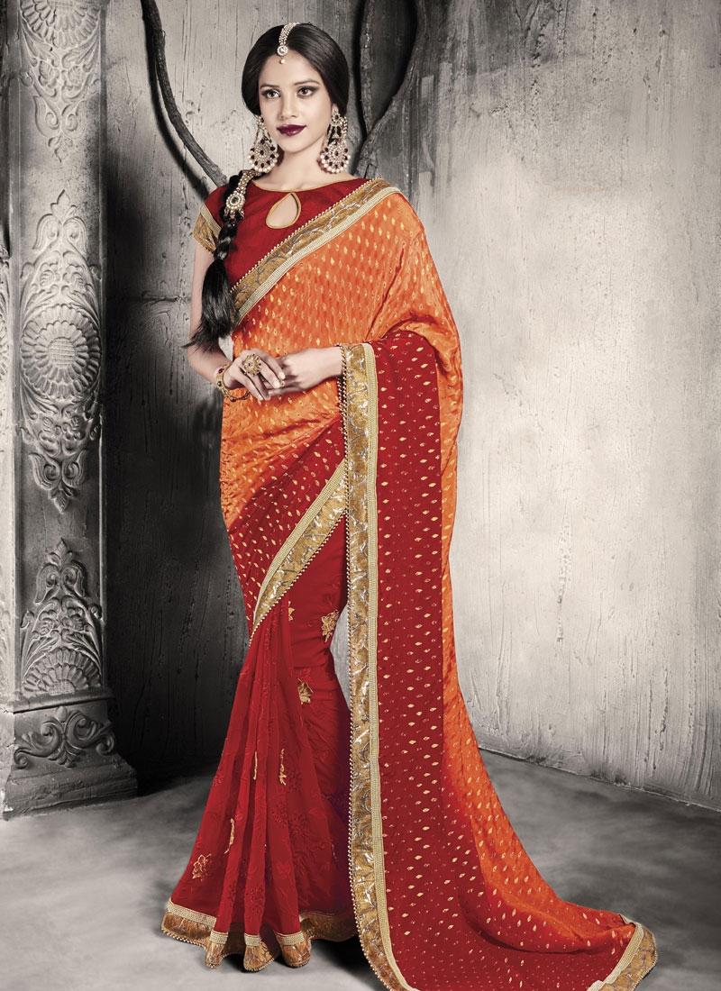 Demure Stone And Lace Work Half N Half Wedding Saree