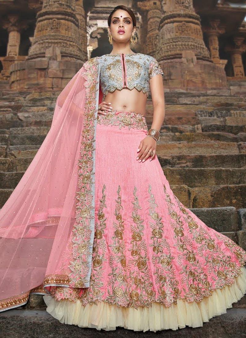 Deserving Beads Work Pink Color Bridal Lehenga Choli