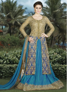 Deserving Beige and Blue  Kameez Style Lehenga