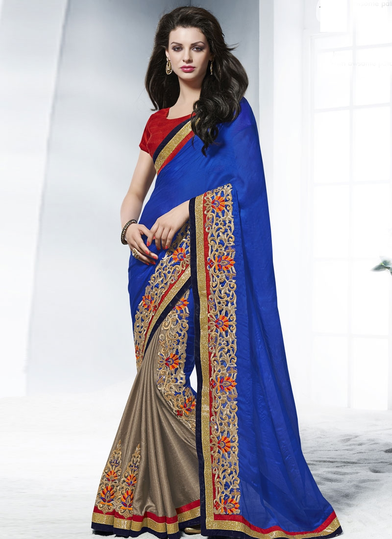 Deserving Booti Work Half N Half Wedding Saree