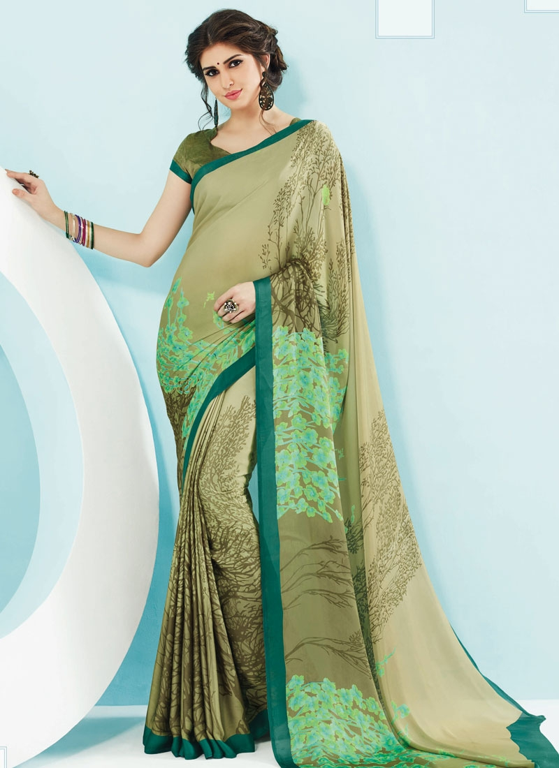 Deserving Digital Print Work Beige Color Casual Saree