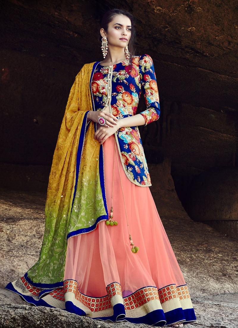Deserving Digital Print Work Kameez Style Designer Lehenga Choli