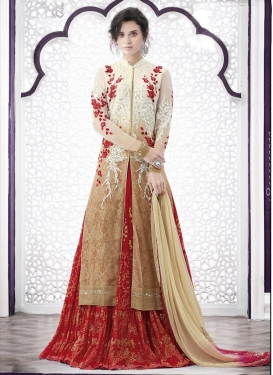 Deserving Embroidered Work Beige and Red Kameez Style Lehenga