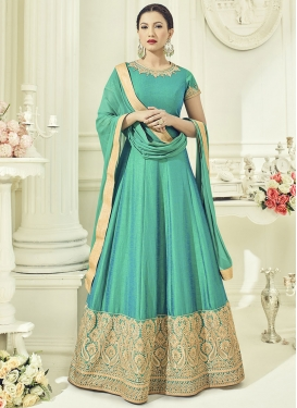 Deserving Embroidered Work Gauhar Khan Floor Length Anarkali Salwar Suit