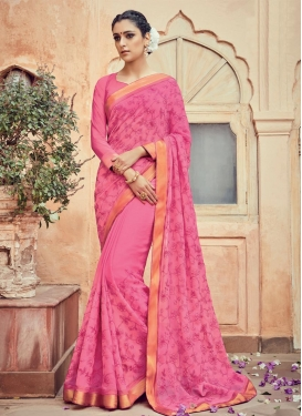 Deserving Faux Chiffon Trendy Saree