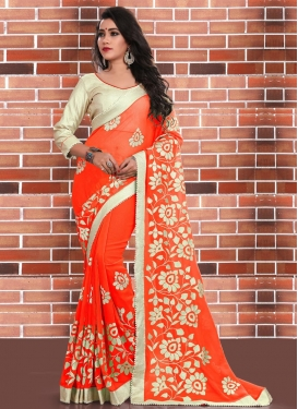 Deserving Faux Georgette Beads Work Trendy Saree For Ceremonial