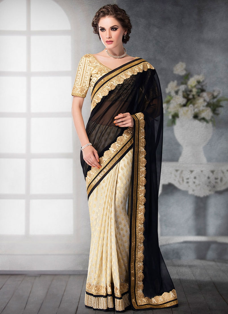 Deserving Jacquard Silk Black Color Half N Half Designer Saree