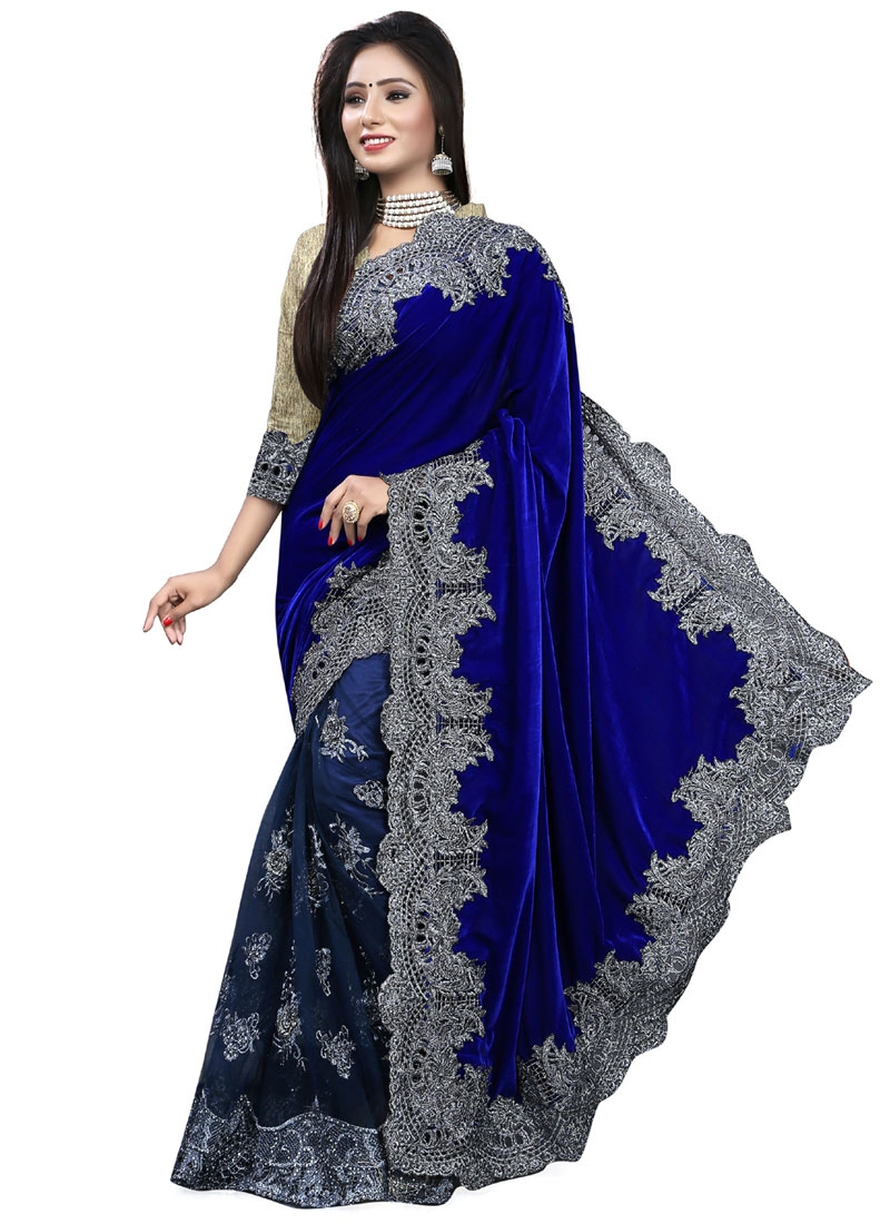 Deserving Net And Velvet Half N Half Bridal Saree