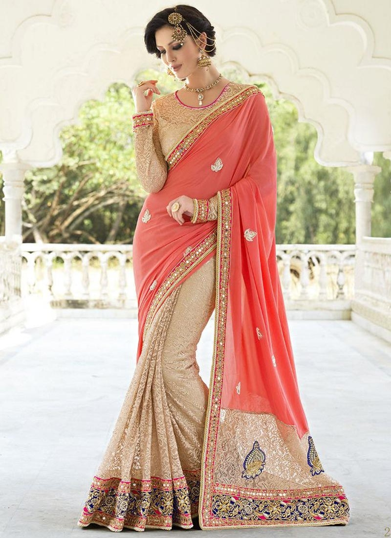 Deserving Patch Border Work Half N Half Wedding Saree