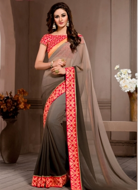 Deserving Pure Georgette Resham Work Party Wear Saree