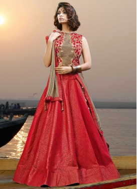Deserving Red Jacquard Silk Trendy Long Choli Lehenga For Ceremonial