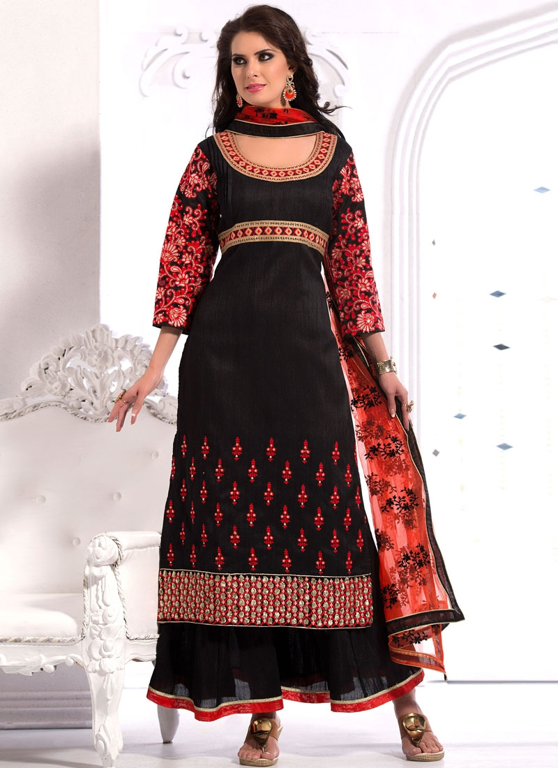 Deserving Resham Work Black Color Designer Suit