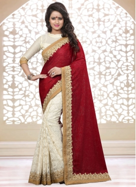 Deserving Resham Work Half N Half Designer Saree