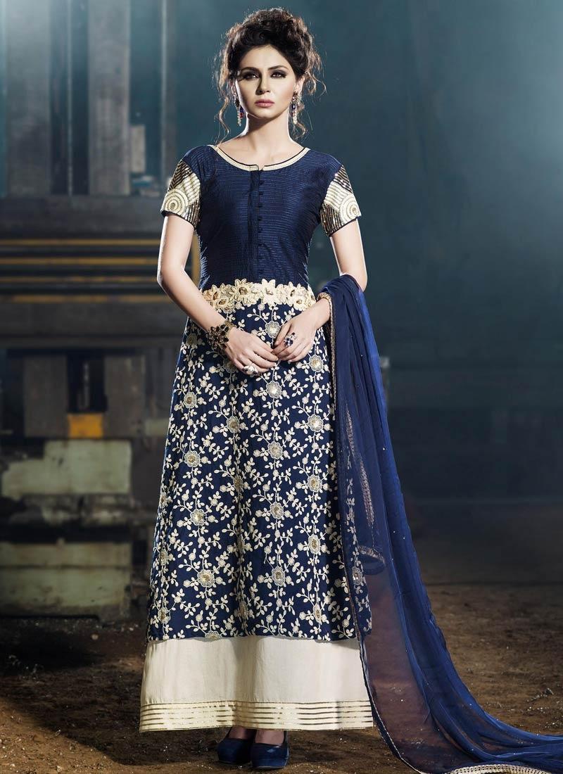 Deserving Sequins Work Art Silk Designer Salwar Suit