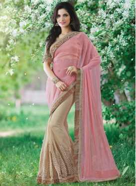Deserving Stone And Lace Work Half N Half Designer Saree