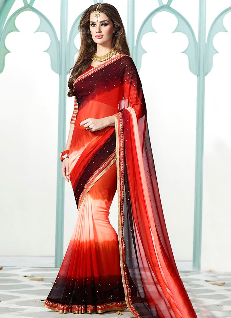 Deserving Stone Work Faux Georgette Casual Saree